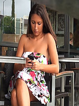 Naked Outdoors, Texting bitch gets public cum disgrace