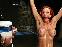 Teen Puffy Nipples, In a cold lonely factory a young bondage slut is tied and sprayed
