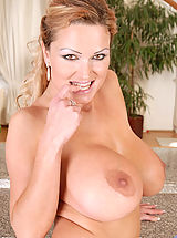 Erected Nipples, Seductive hot milf Sharon Pink pops out her massive boobs while slowly taking off her sexy thongs