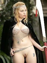 naked blonde, WoW nude aiden medieval guard on duty