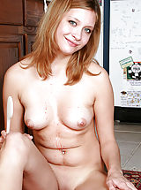 Tan.Lines Nippels, Lovely cutie with round tits exposing her perfect naked body in the kitchen