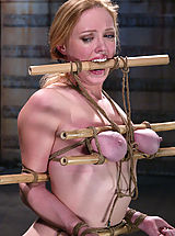 Nipples always hard, Busty blonde beauty is bound, gagged and tormented with water.