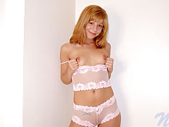 Areola Nipple, Chastity bends over on her bed and stuffs her teen pussy with a toy