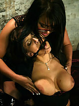 Fetish Nippels, Two busty brunettes in BDSM sex action featuring Eva Angelina