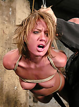Kink Pics: Sexy tan Holly Wellin is tied up tight and forced to cum, tickled