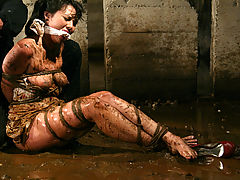 Women Nipple, Petite brunette is bound and abused in an underground dungeon