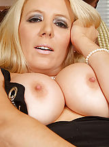 Puffy Nipples, Sophisticated blonde Anilos model screws her tight matured pussy vigorously
