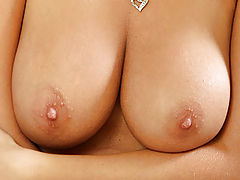 Breastfeeding Nipple, Big breasted Nubile shows off her tits and tortures her pussy with a dildo