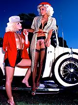 Ginger Lynn and Desiree Lane are all over a beautiful vintage car.