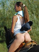 nice ass, Naked stunning busty Alena riding horse