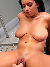 Black Nippels, Hot black babe with huge natural tits gets machine fucked.