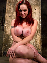 Kink Pics: HUGE breasted red head, gets bound and tormented, forced to cum
