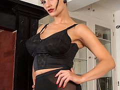 Vintage Vids: Val striptease and plays in longline bra, vintage nylons and girdle!