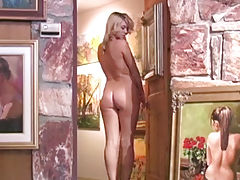 Celebrity Vids: Alison Angel gets naked with the art