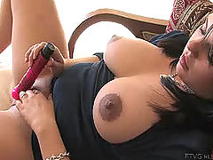 black naked, Julie fucks her new dildo