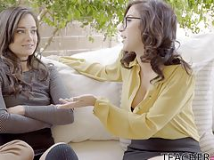 Sex ed teacher Apriloneil and her student Gia Paige are sharing some juicy gossip while Tyler listens in