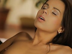 naked blonde, Breath-taking beauty Ferrera Gomez drops her satin nightie to give her pulsing pussy true ecstasy with roaming fingers