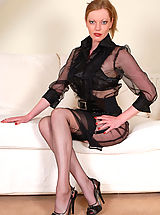 Retro Clothing, Vid of Holly dressed throughout in sheer black nylon!