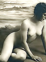 naked girl, Retro Women