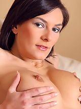 Hard Nipples, Gorgeous brunette wearing green opaque stockings.
