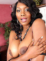 Areola Showing, Gorgeous busty ebony Nyomi Banxxx has intense rough sex with one of her son's friends.