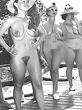 Bigger Groups of Naked People at Naturist Camps - Hot Naked Women with Big Tits & Hairy Vaginas Pose Undressed