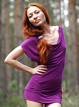 naked girls, Skinny redhead Kesy shows off her naked beauty in the forest