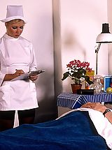 Vintage Look, Classic blond nurse seduces horny old patient