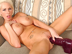 Large Nipples, Kasey inserting a very big brutal dildo!