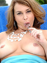 Puffy Nipples, Anilos housewife moistens her glass toy and fucks her pink pussy outdoors