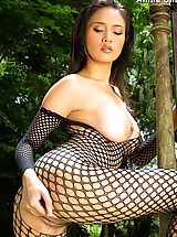 Asian Nippels, Asian Women annie chui 09 forest bodystocking hanging