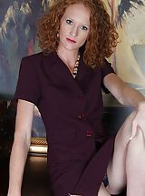 naked chicks, Small bosomed curly redhead Ande exposes her older slit.