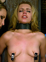 Fetish Nippels, Hot young blonde in metal restraint and strapon fucked.