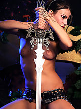 Vintage Fashion, Naked gorgeous warrior naked with the steel sword