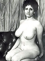 Enormous sized vintage big boobs of naked retro women with natural hairy cunts posing for men magazine 1960