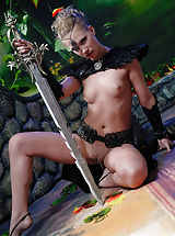 Naked knight babe with the huge steel sword