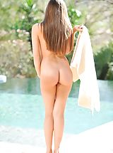 Capri gets naked by the pool