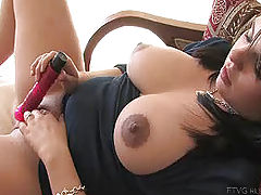 Milky Nipples, Julie fucks her new dildo