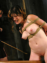 Naked Fetish, Stacey's natural tits are shocked as her pussy is forced to cum