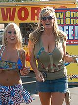 naked boobs, Kelly Madison and Jessica Moore get fucked for 4th of July and wear star pasties.