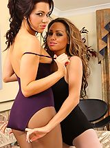 Naked Lesbians, Jessica and Jamie can't wait to strip each other out of their gym wear after a quick work out.