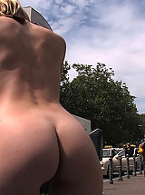 Outdoors Nippels, Hot German blonde gets punished and fucked in public