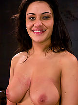 Puffy Nipples, Brunette with natural 34DD's gets her tits tied and shocked