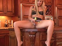 Girlfriends Vids: Lia 19 plays in the kitchen